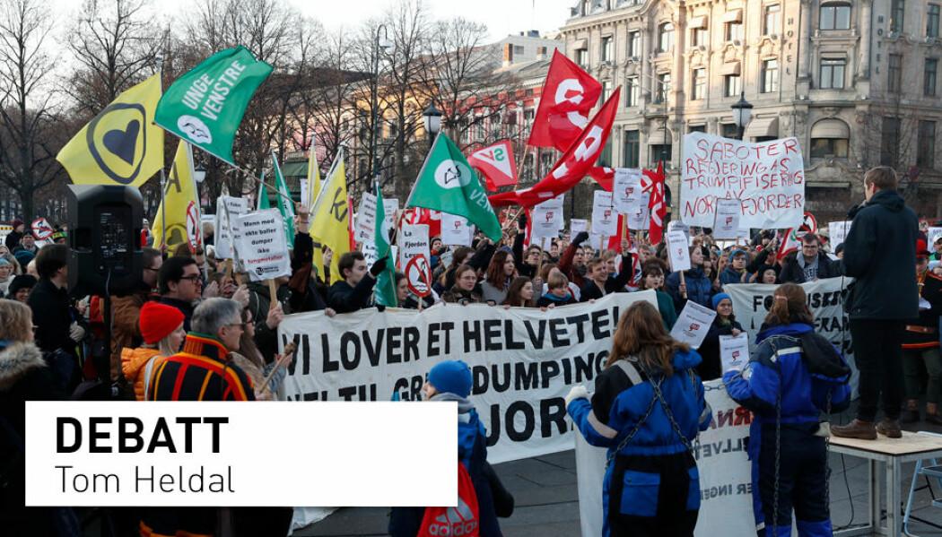 I midten av februar holdt Natur og ungdom en demonstrasjon mot den planlagte gruvedriften i Repparfjord. (Foto: Gorm Kallestad / NTB scanpix)