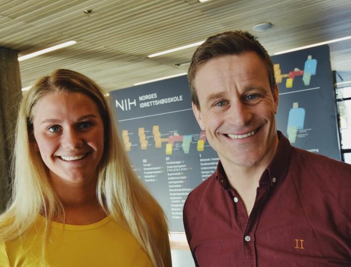 Masterstudent Sara Kleppe har vært vitenskapelig assistent i studien UngKan3 ved Norges idrettshøgskole. Her sammen med Jostein Steene-Johannessen ved idrettsmedisinsk avdeling. (Foto: Irene Mårdalen)