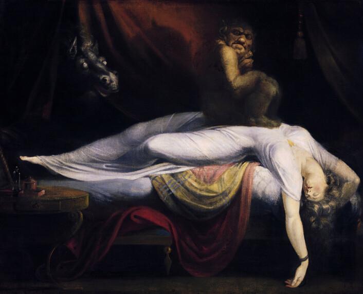 Har du ligget i halvsøvne og hatt følelsen av at noen eller noe sitter på deg? (Foto: (Illustrasjon: The Nightmare, Henry Fuseli))
