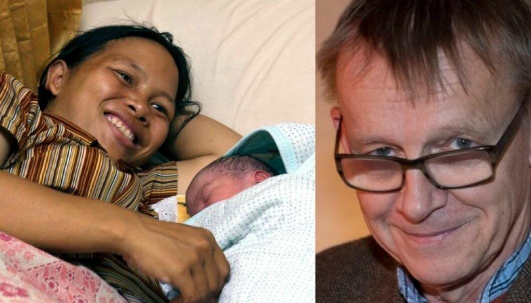 En mor med et nyfødt barn på en lokal helsestasjon i Indonesia. Hans Rosling opplyste oss om hvor mye bedre det nå går med mødre og barns helse i verden. Fakta du nesten aldri får høre om i nyhetsmedia. Heller ikke her på forskning.no. (Foto: Mark Garten/UN pressphoto og Fredrik Sandberg/TT/NTB scanpix. Montasje: forskning.no)