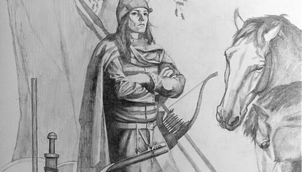 Vikingkrigeren fra den svenske graven ble begravet med mye av det du ser på bildet. (Bildet er laget av en kunstner: Tancredi Valeri/Antiquity 2019)