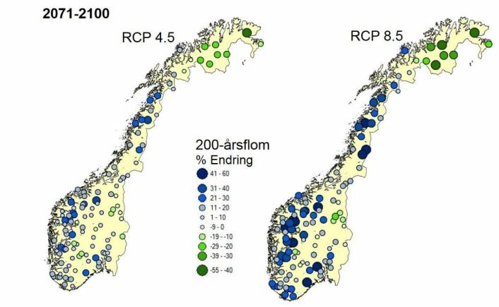 Prosentvis endring i 200-års flom (svært stor flom) med middels og høye utslipp. Grønt viser mindre flomvannføring og blått viser større flomvannføring. (Foto: (Figur: NVE))