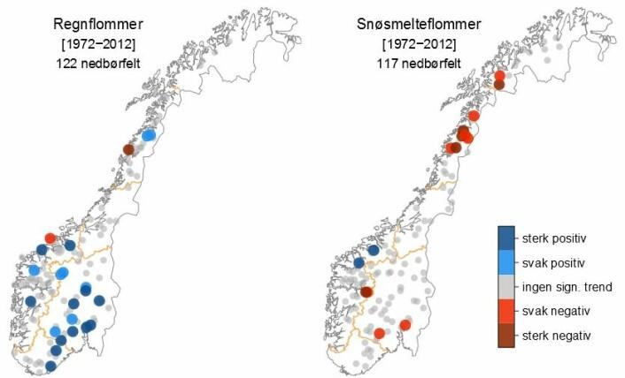Denne figuren viser endring i antall flommer som hovedsakelig forårsakes av regn (kart til venstre) versus snøsmelting (kart til høyre) fra 1972-2012. De signifikante endringene er klassifisert som svake eller sterke avhengig av signifikansnivå (10 % og 5 %). (Foto: (Figur: NVE))