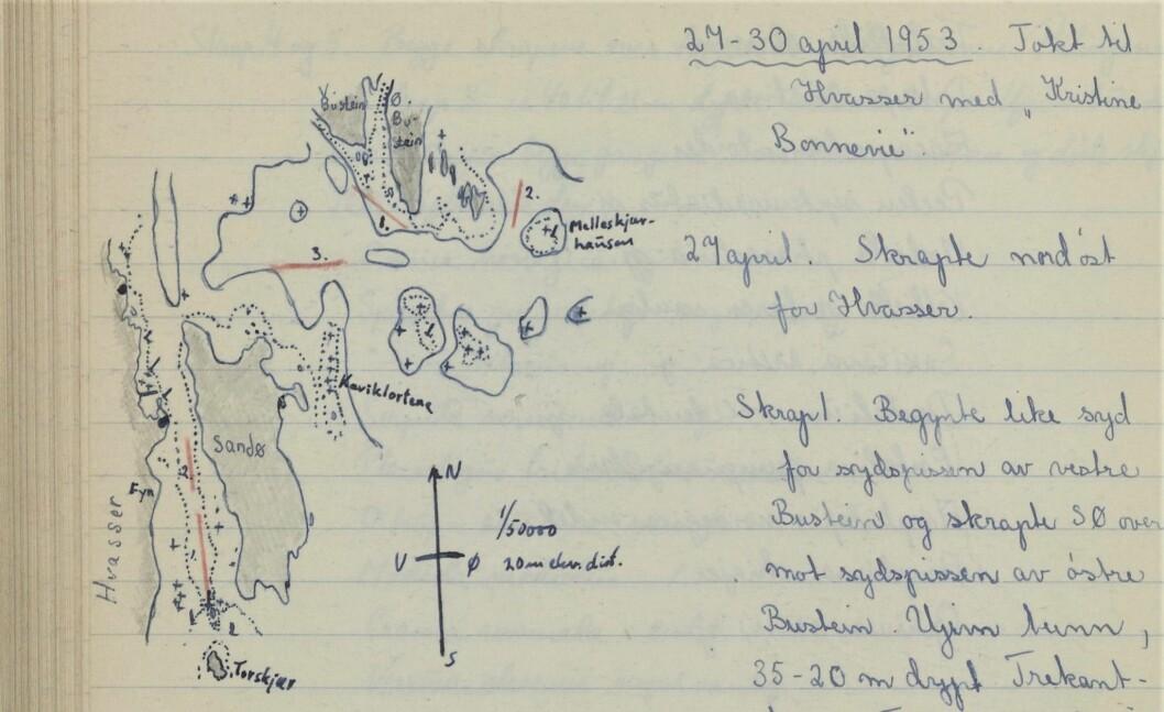 Dagens marinbiologer vet å sette pris på nøyaktigheten i Bengt og Marit Christiansens forskningsdagbok. I løpet av disse dagene ved Vasser i april 1953 fant de blant annet kråkebollen du kan se på bildet under.