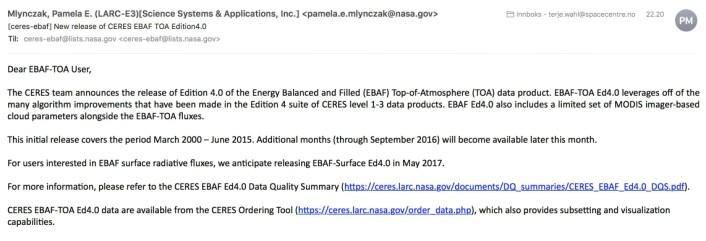 Mens vi snakker om sola - eller skriver om klodens energibalanse - så ramler det inn en email fra NASA. (Skjermbilde)