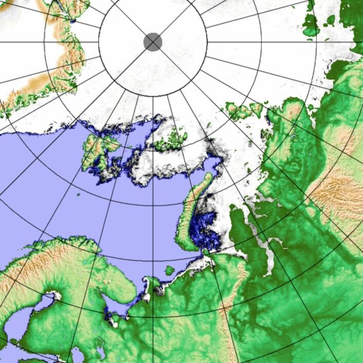 Fortsatt litt åpent vann i Karahavet den 2. februar i år. (Bilde: AMSR2-JAXA/Univ Bremen)