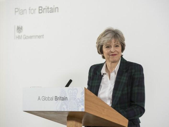 """Theresa May legger frem britenes """"hard Brexit""""-strategi i Lancaster House 17. januar 2017. Men hadde hun egentlig noe valg? (Foto: Jay Allen)"""