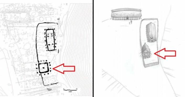 Skissetegninger av tårnområdet med innhegnet kulthus og et nordsørvendt hus. De røde piler indikerer tårnet på begge tegninger. (Foto: (Tegning: Tom Lock))