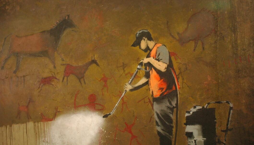 I mai 2008 dukket dette Banksy-verket opp i Leake Street-tunnelen i London. Knappe tre måneder senere ble det malt over. (Foto: Badjonni /CC BY-NC-SA 2.0)