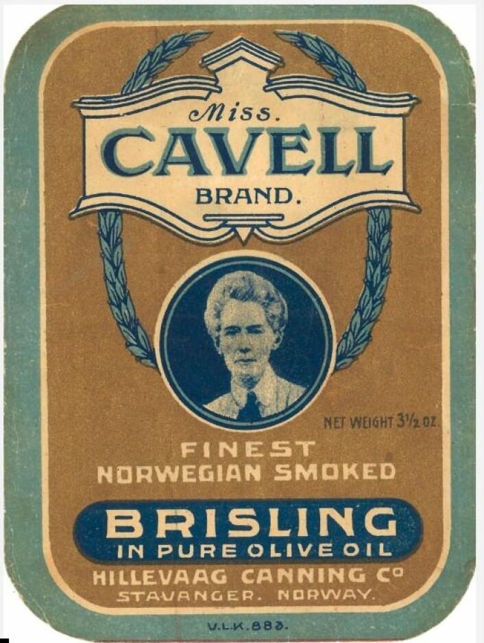 Miss Cavell, engelsk sykepleier som ble henrettet av tyskerne for sin krigsinnsats. Miss Cavell ble en viktig person i alliert propaganda under 1. verdenskrig. (Foto: MUST/ Norsk hermetikkmuseum)