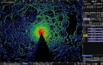 Slik ser radaroperatørskjermen ut, ombord på Oden. Denne viser issituasjonen i nærområdet rundt skipet. (Foto: SAMCoT)