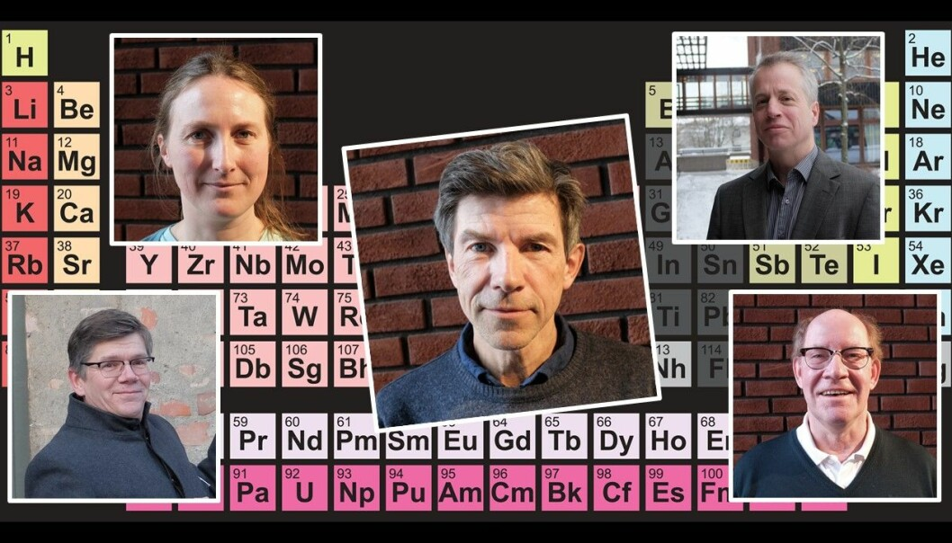 Hvordan forholder forskere seg til periodesystemet? Vi har spurt fysiker Anja Røyne, biolog Dag O. Hessen og kjemikerne Carl Henrik Gørbitz, Svein Stølen og Mats Tilset. (Illustrasjon: Colourbox. Foto: Eivind Torgersen)