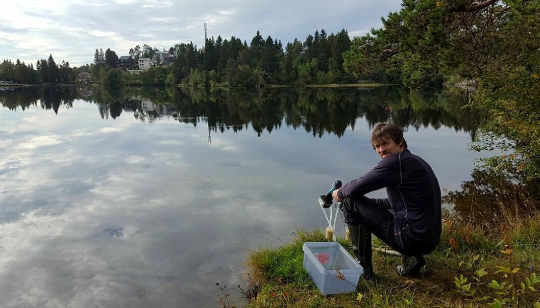 Her samler en forsker vannprøver som inneholder fragmenter av arvestoffet til fisk. En vannprøve kan vise de fleste fiskearter som finnes i innsjøen. (Foto Frode Fossøy/NINA)