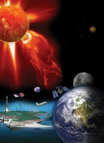 Romvær kan påvirke elektronikk både på jorda og i bane. (Foto: (Grafikk: NASA))