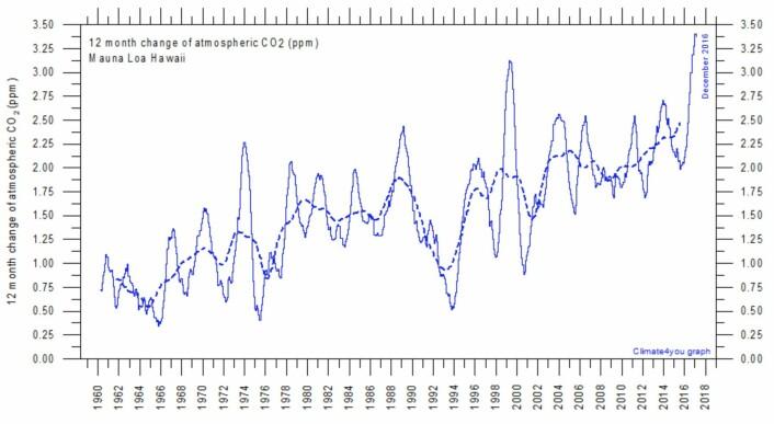 Den årlige økningen i atmosfærens CO2-innhold er nå ca 2,5 ppm. Da målingene begynte var den årlige økningen mindre enn 1 ppm. (Bilde: Climate4you)