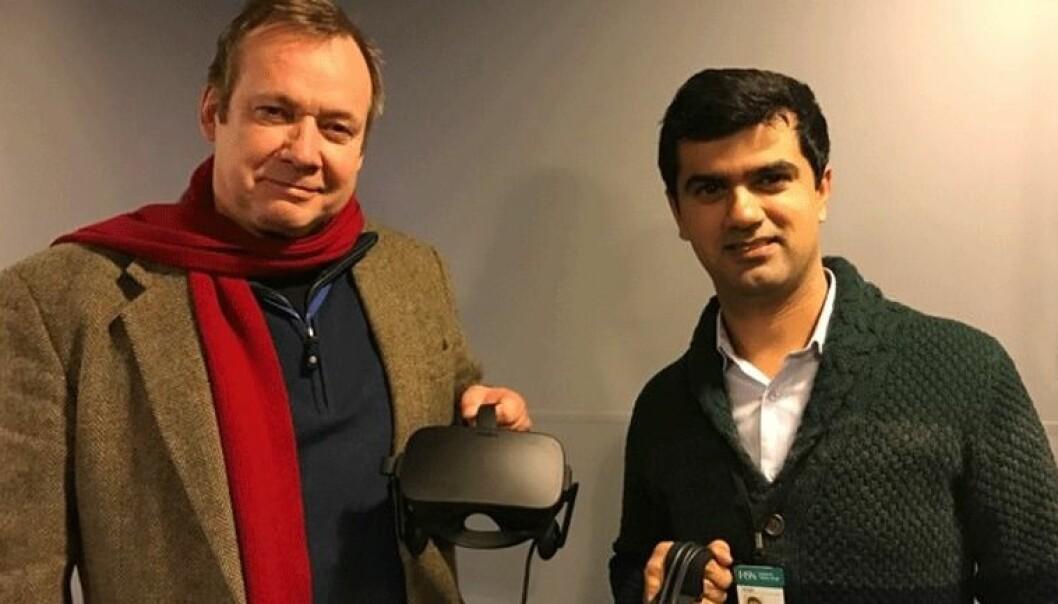 Stig-Einar Wiggen fra Kongsberg Digital og Salman Nazir ved Institutt for maritime operasjoner. (Foto: HSN)