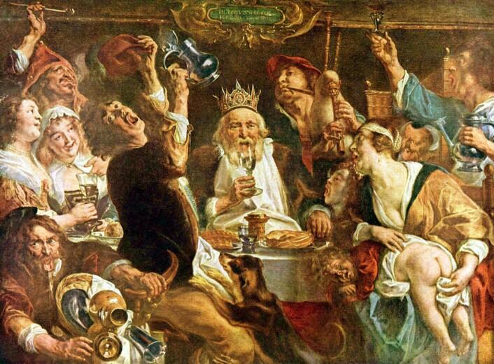 """ROLLESPILL: Ritualer og attributter var viktige i middelaldersamfunnet. Karneval og lignende fester kunne snu det på hodet - her fra Helligetrekongersdag i Flandern, der familier drakk og spiste sammen, og én fikk rolle som konge. (Foto: Maleri: Jacob Jordaens, """"Kongen drikker"""", ca 1640)"""