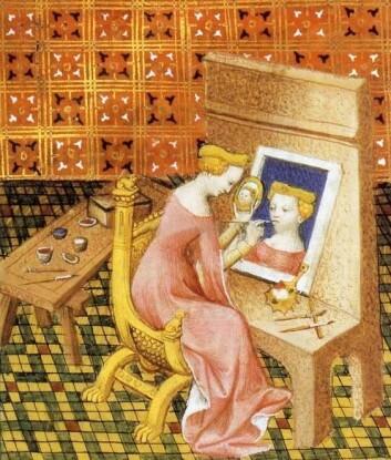 SEG SELV NOK: Denne illustrasjonen fra 1403 som viser kunstneren Marcia er den første kjente avbildningen av et selvportrett. (Foto: Illustrasjon fra et Bocaccio-manuskript)