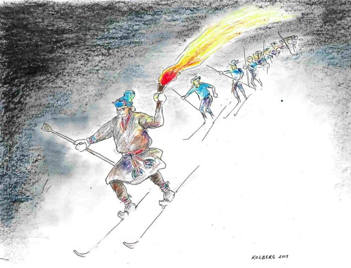 Skiløperens lue og pesk er basert på et foto av en sørsamisk skiløper fra Jämtland ca. 1900, og er dermed ikke nødvendigvis historisk-geografisk korrekt for Mediå-sagnet som vanligvis er tidfestet til 1600-tallet. (Foto: (Tegning: Asbjørn Kolberg))
