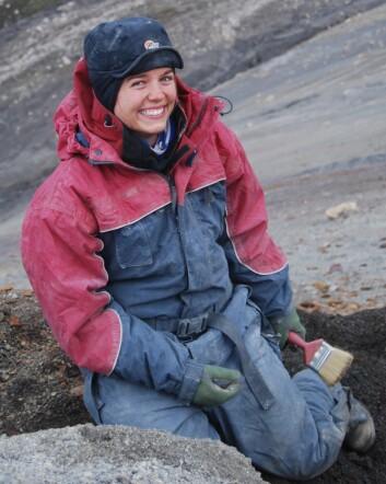 Øglegraver Lene Liebe Delsett. (Foto: Spitsbergen Mesozoic Research Group)