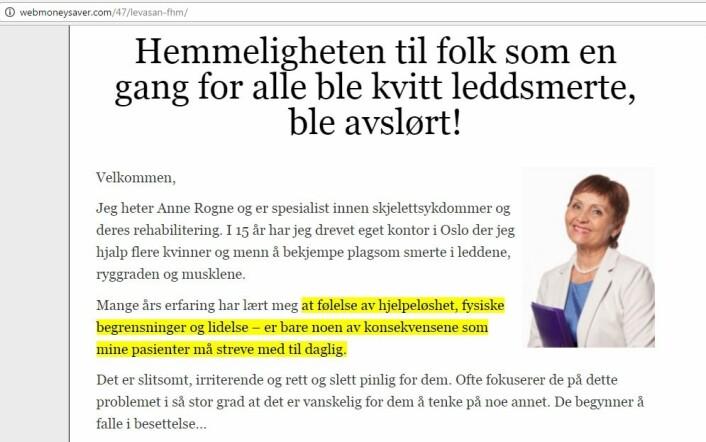 Nettsiden der en kvinne ved navn Anne Rogne, som presenteres som spesialist i skjelettsykdommer, anbefaler kremen. Gul merking er fra originalen. Bildet er tatt av nettsiden http://webmoneysaver.com/47/levasan-fhm/