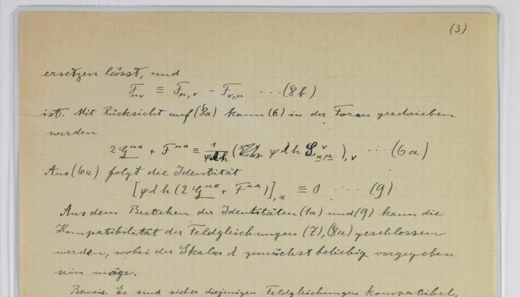 Det hebraiske universitetet i Jerusalem har fått 110 originale dokumenter som har tilhørt Albert Einstein. Bildet viser et tillegg til fysikerens enhetsteori fra 1930. (Foto: Ardon Bar-Hama / Hebrew University / AP / NTB scanpix)