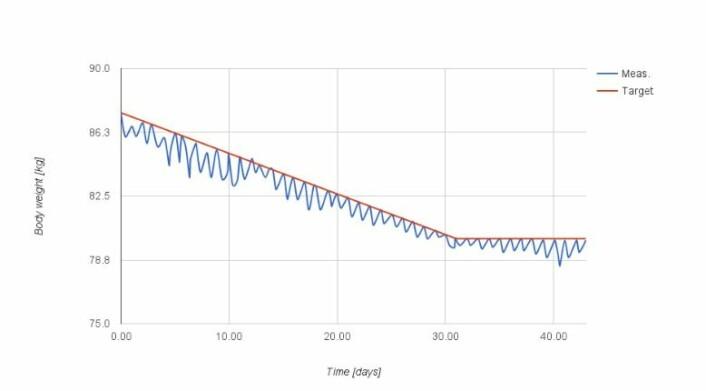 Kurven over Jakob Stoustrups vektutvikling over 40 dager viser at vekten (den blå kurven) treffer målet (rød) en gang om dagen. Når han når målet etter 31 dager, flater kurven ut. (Foto: (Graf fra Stoustrups blogg om slankekuren))