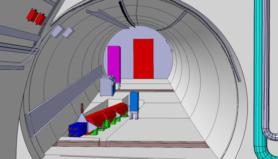 En datamodell av hvordan detektoren skal se ut. Den ligger i en sidetunnel og peker rett mot kollisjonene i ATLAS-detektoren. (Bilde: Jamie Boyd/CERN)