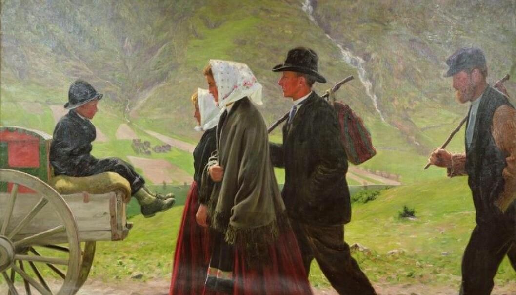 Maleriet «Utvandrere» malte Gustav Wentzel i Vågå i Gudbrandsdalen året 1903. Det viser nordmenn som forlater hjemplassen for å forsøke å skape seg et bedre liv i Amerika. (Foto: Wikimedia Commons)