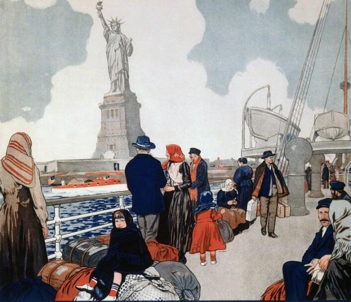 USA var for hundre år siden et sted mange nordmenn hadde mulighet til å komme seg opp i en høyere sosialklasse. Senere er det i landet de forlot at mulighetene er blitt stadig bedre. (Foto: Tegning fra amerikansk plakat / Library of Congress / Wikimedia Commons)