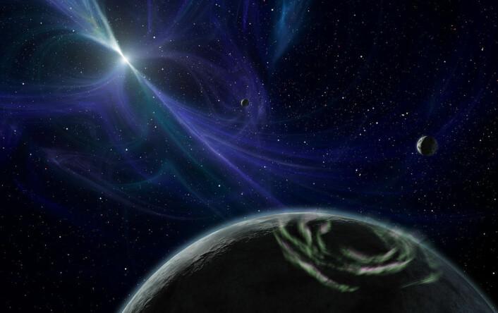 Artistens inntrykk av planeter rund pulsaren PSR B1257+12. (Foto: (Illustrasjon: NASA))