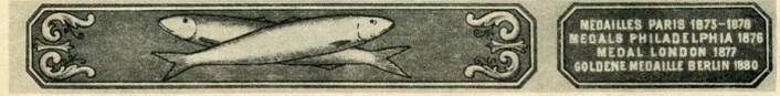 """Den eldste kjente sardinetiketten. Den viser varemerket """"Crossed Fish."""" Foto: MUST/ Norsk hermetikkmuseum"""