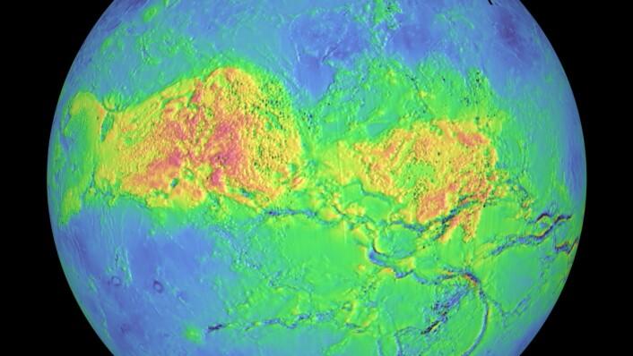 Ved hjelp av radar kan man se gjennom skyene på Venus. Dette er et kart som viser fjellpartier. Jo rødere fargen er, desto høyere er fjellene. (Foto: NASA)
