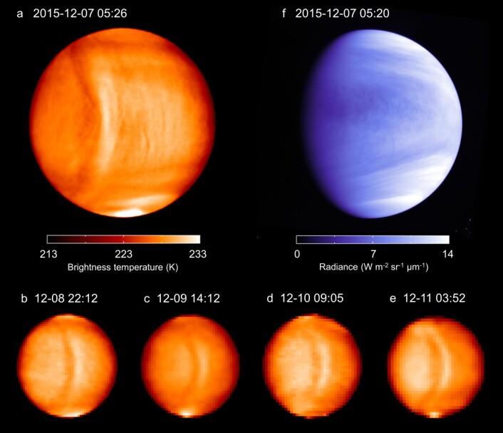 Bilder som blant annet viser fargetemperaturen. Bølgen var ikke særlig synlig i det ultrafiolette spekteret. (Foto: ©Planet-C)