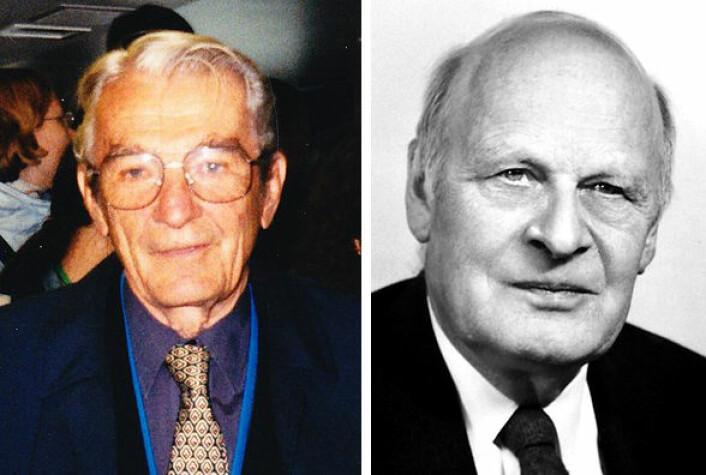 Født i Norge, men emigrerte til USA: Ivar Giæver (t.v) var utdannet maskiningeniør fra NTH (NTNU) i 1952. Han emigrerte til USA i 1956, utdannet seg til fysiker og fikk Nobelprisen i fysikk i 1973 sammen med Leo Esak for forskningsarbeid på elektron-tunnellering. Lars Onsager (t.h) ble sivilingeniør ved NTH (NTNU) i 1925, og emigrerte til USA i 1928. Han fikk Nobelprisen i 1968 for statistisk analyse av diffusjon. (Foto: Wikimedia Commons, public domain)