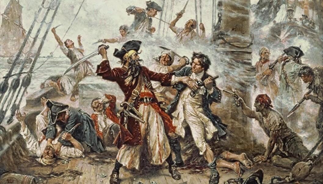 Illustrasjon av sjørøveren Edward Teach, bedre kjent som kaptein Svartskjegg. Hva fikk Teach og hans kompanjonger til å velge et lovløst liv til sjøs? (Illustrasjon: Jean Leon Gerome Ferris)