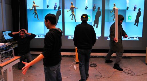 Lager teater med virtuelle mennesker på scenen