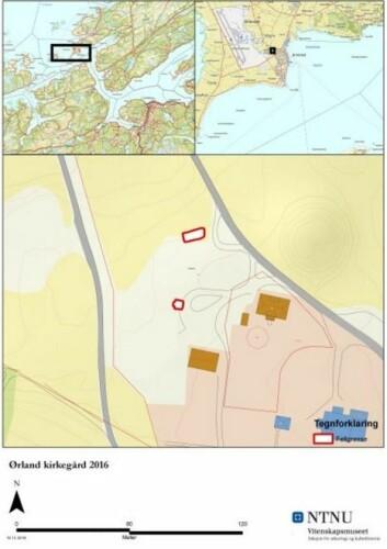 Oversikt over utgravningsområder. Det søndre feltet (Felt I) ligger innenfor gårdshaugen på Viklem. (Foto: (Kart: Jo Sindre P. Eidshaug, NTNU Vitenskapsmuseet))