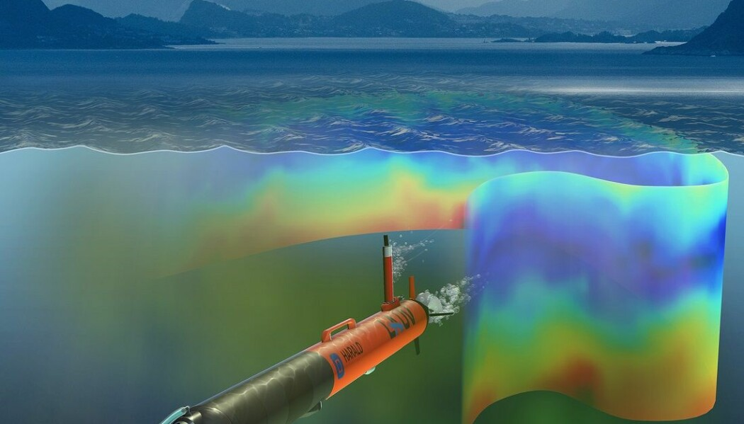 Slik ser en kunstner for seg undervannsropboten Harald i havet, mens den er på utkikk etter planteplankton i havet. (Illustrasjon: David Fierstein og Arild Hareide)