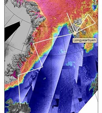Kartet viser den planlagte flyruten for kampanjen fra Island til Svalbard via Grønland. Bakgrunnsfargene er laget av forskjellige satellittbilder. Havet er blått og isen er rød. (Bilde: www.seaice.dk, Technical University i Danmark)