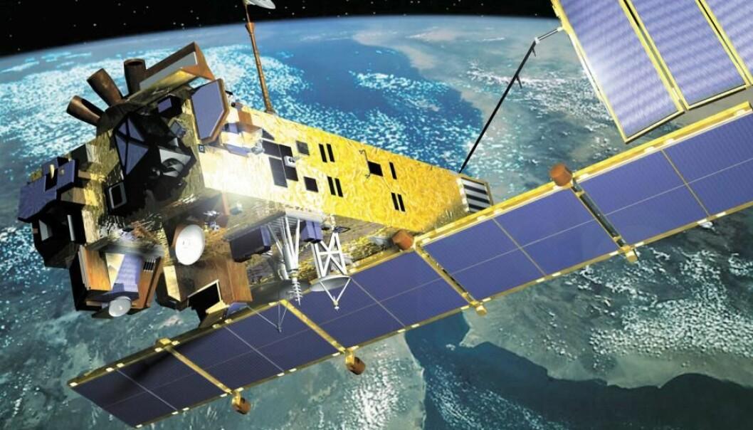 Satellitten Envisat overvåket jordas miljø og klima. Andre satelitter er veivisere for skip i Arktis. Sikkerheten deres er avhengig av god kvalitet på signalene.  (Illustrasjon: ESA)