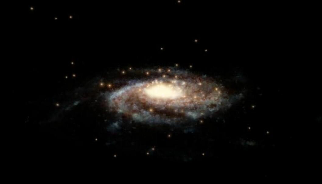 Kulehopene i Melkeveien kan gi oss et mål på hvor mye masse det finnes i galaksen. (Illustrasjon: ESA/Hubble, NASA, L. Calçada)