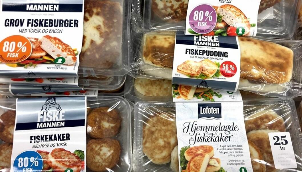 I dagligvarebutikker får du kjøpt en rekke ulike fiskekaker og andre blandingsprodukter av fisk. Viktigste ingrediens i de fleste av disse produktene er vassilda som en gruppe forskere i Stavanger oppdaget mulighetene med i 1974.  (Foto: Bård Amundsen)