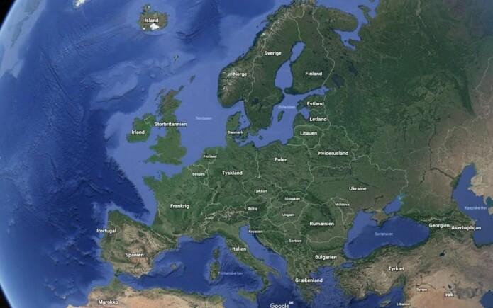 Når du har gått inn i programmet Google Earth, kan du zoome inn på ulike geografiske områder som du vil utforske. (Foto: Google Earth)
