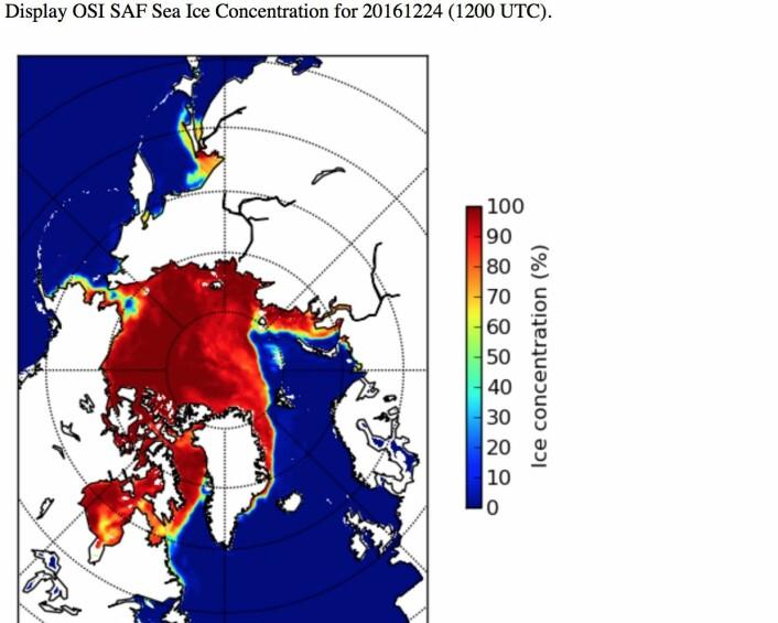Sjøisen trives mye bedre på den kanadiske siden enn rundt Svalbard og Franz Josef Land denne jula. (Bilde: EUMETSAT osisaf.met.no)