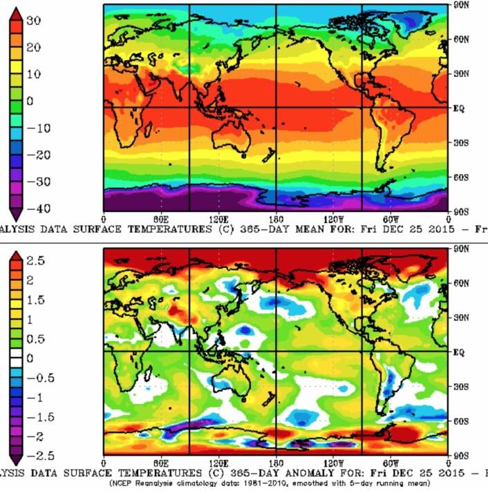 365 dagers reanalyse for temperatur (øverst) og temperatur-anomali (nederst) for perioden fra første juledag i fjor til årets jul. (Bilde: NOAA)
