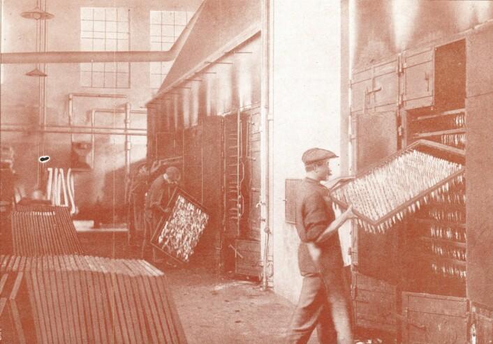 Slik så røykeriet ut da USF hadde Norges største sardinrøykeri Foto: MUST/ Norsk hermetikkmuseum