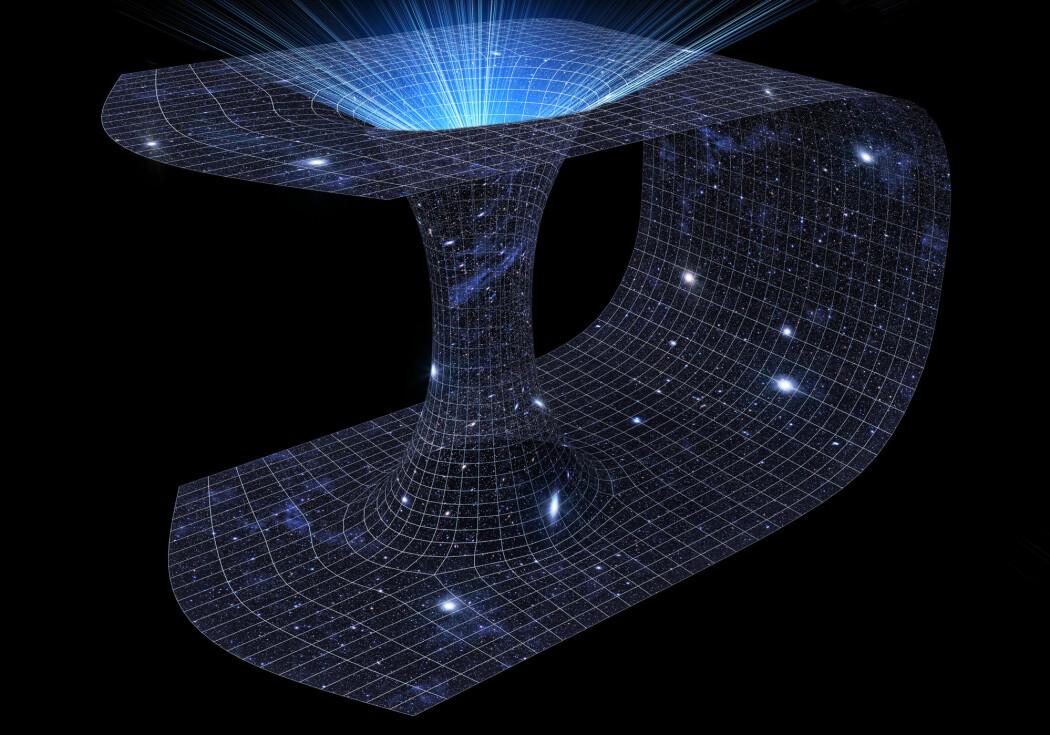 En klassisk framstilling av et ormehull. Istedenfor å reise den lange veien rundt kurven, kan man åpne en snarvei gjennom romtiden. (Bilde: Interior Design / Shutterstock / NTB scanpix)