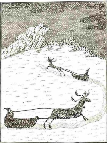 «Samer med kjørerein». Forestillingen om at julenissen bruker reinsdyr foran sleden har tilknytning til samisk historie. (Foto: (Illustrasjon: kopperstikk gjengitt i Knud Leems og Eric-Johan Jessens-Schardebølls verk om samene fra 1767))