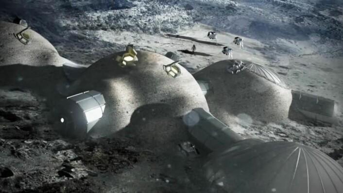 ESA tror det kan være mulig å etablere en permanent base på månen. Dette kan skje i tunneler som det har vært lava i tidligere. Slangeroboter kan undersøke mulighetene nærmere. (Foto: (Illustrasjon: ESA))